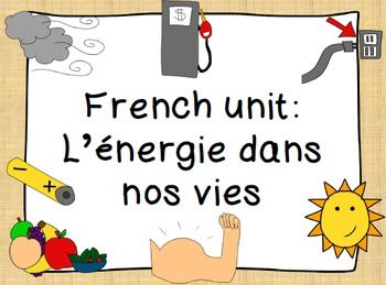 French Unit Energy In Our Lives L Energie Dans Nos Vies Teaching French Kindergarten Resources French Classroom