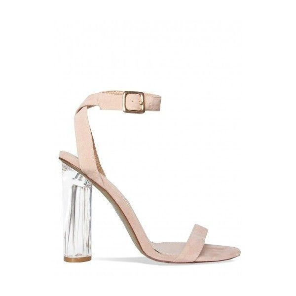 711a34c38acc Jamelia Nude Suede Perspex Barely There Heels   Simmi Shoes ( 9.30) ❤ liked  on Polyvore featuring shoes