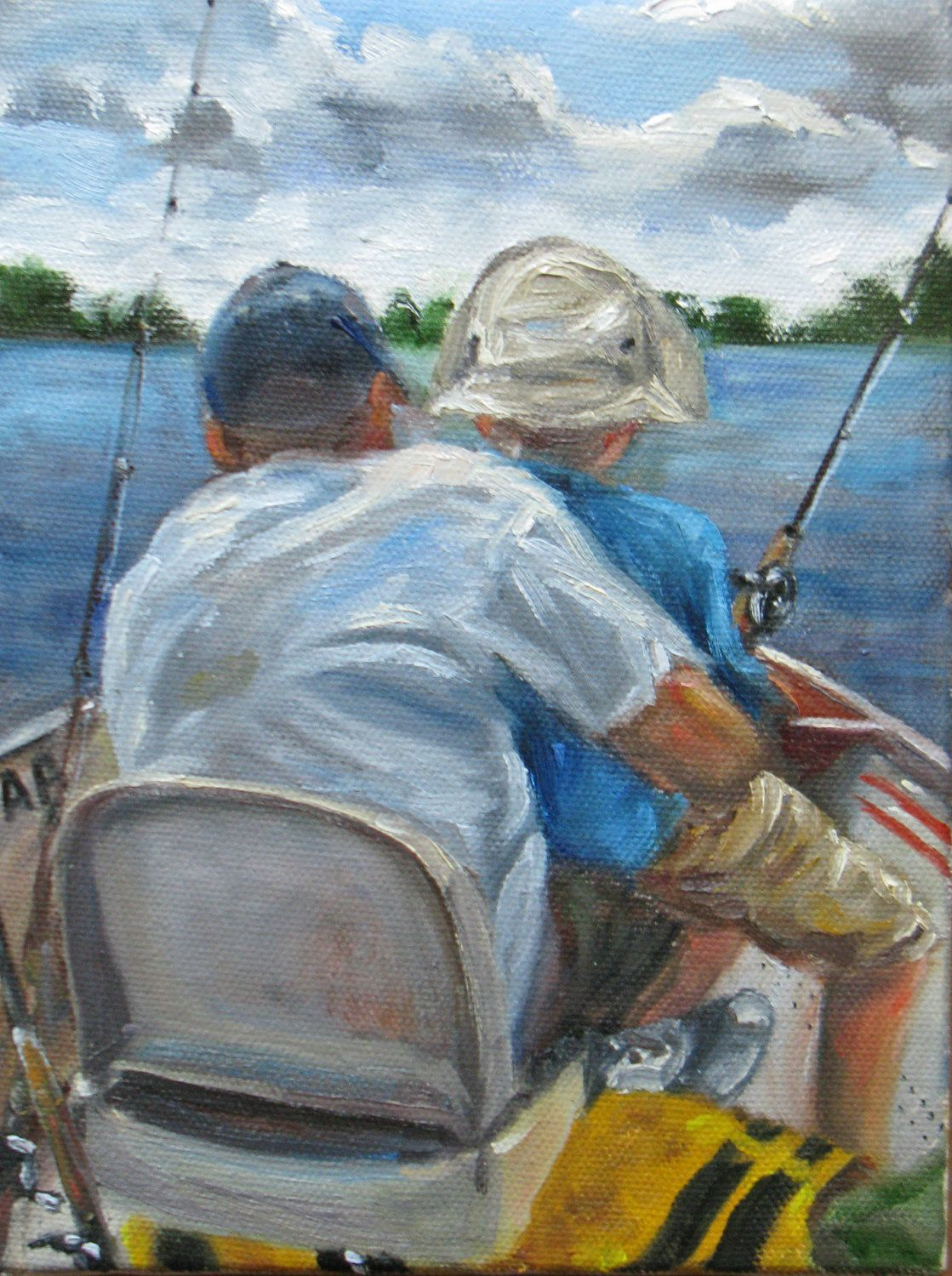 Reserved for andrea father son fishing trip original oil for Father son fishing