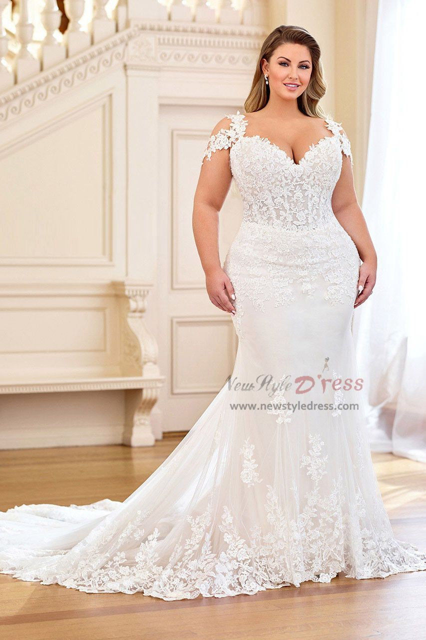Plus Size Trumpet Wedding Dresses With Train 2019 New Style Nw 408 Plus Wedding Dresses Wedding Dresses Lace Wedding Dresses