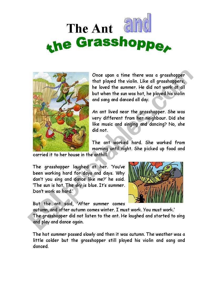 The Ant And The Grasshopper Worksheet English Stories For Kids Short Stories For Kids Kids Story Books [ 1169 x 821 Pixel ]