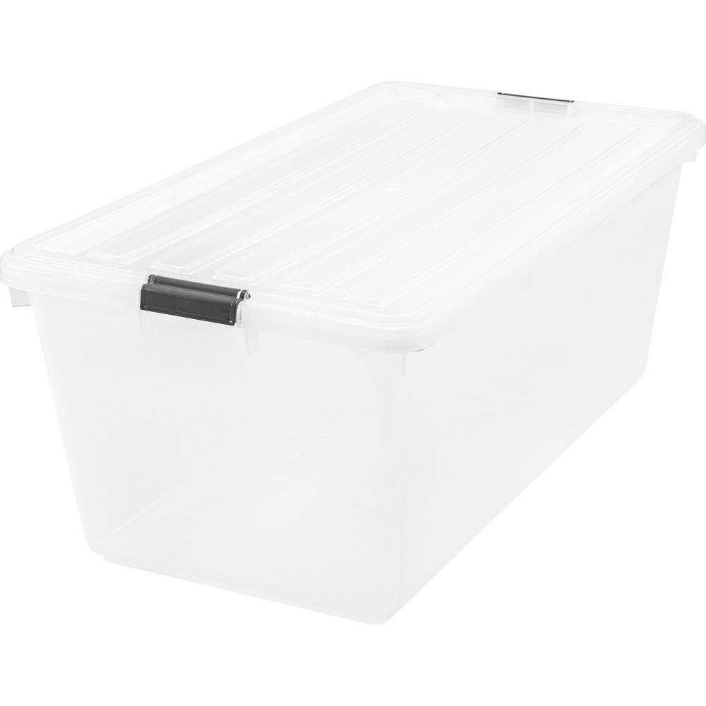 Iris 91 Qt Buckle Down Storage Box In Clear Plastic Box Storage