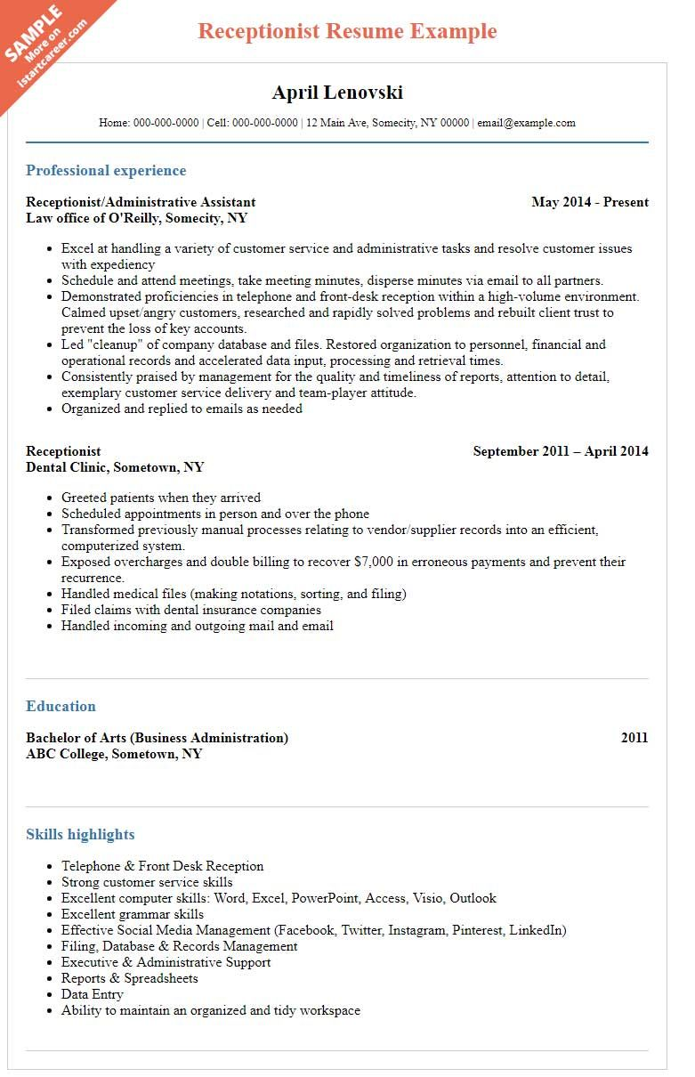 Receptionist Resume Sample to Help You Stand Out