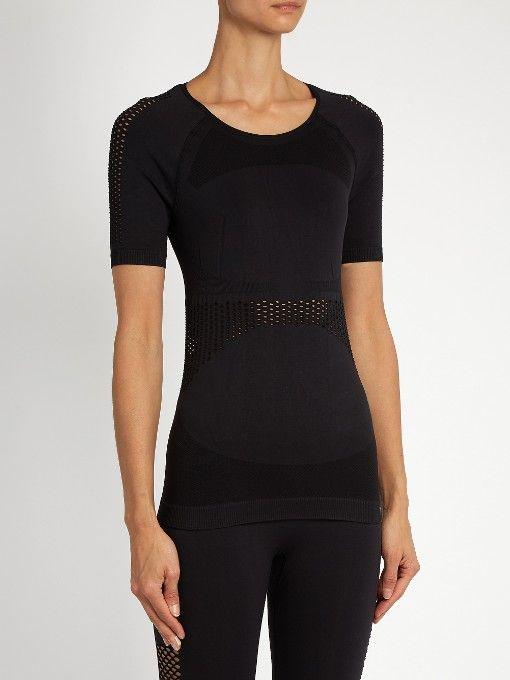 Adidas By Stella McCartney Mesh-panelled seamless performance top