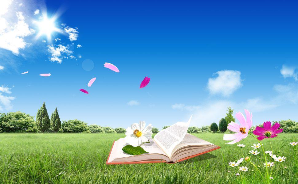 Open book on grass HD Wallpaper Kesehatan, Dokter