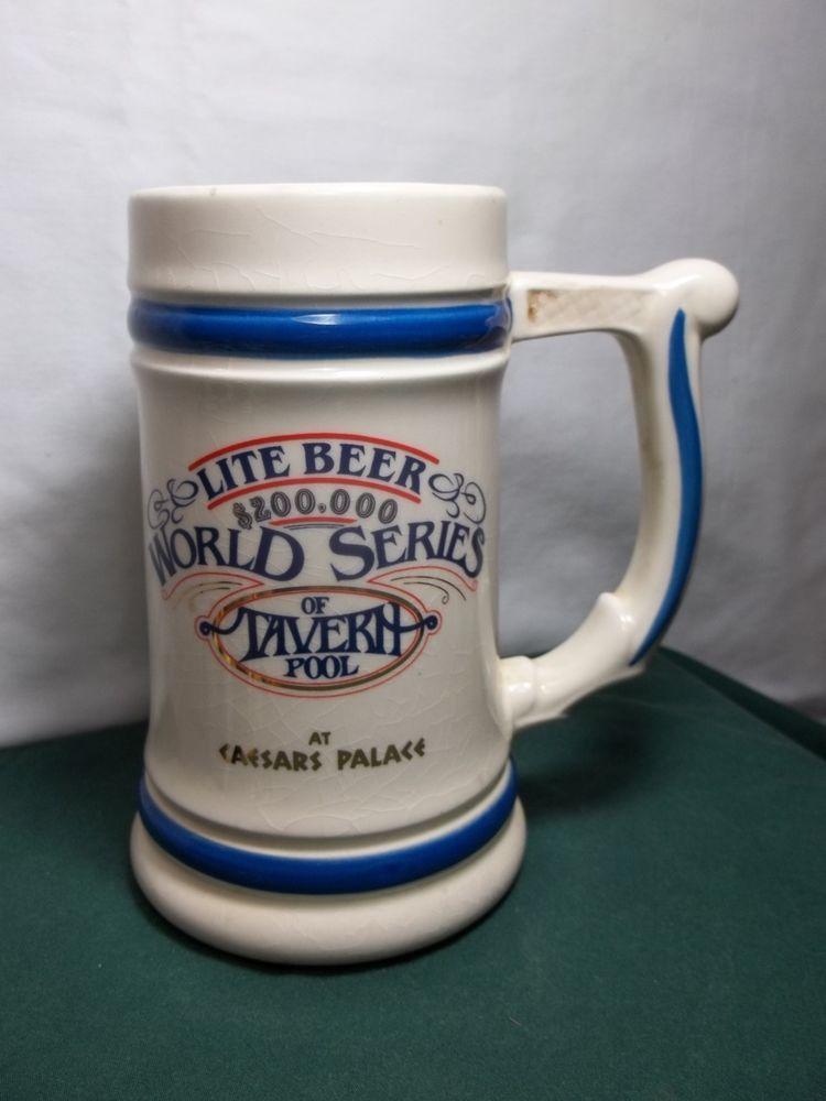 Vintage 1983 Miller Lite Beer Stein World Series Pool Cup Brewery Billiards