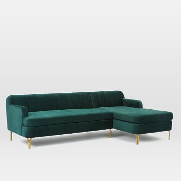 Valencia Set 3: Left Arm Sofa, Right Arm Chaise, Worn Velvet, Forest Green