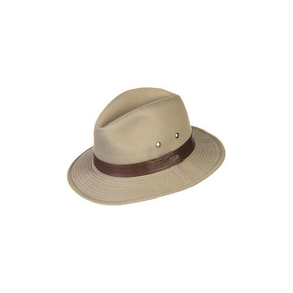 30768f98f2c Washed Twill Safari Hat with Leather Band (£26) ❤ liked on Polyvore  featuring accessories