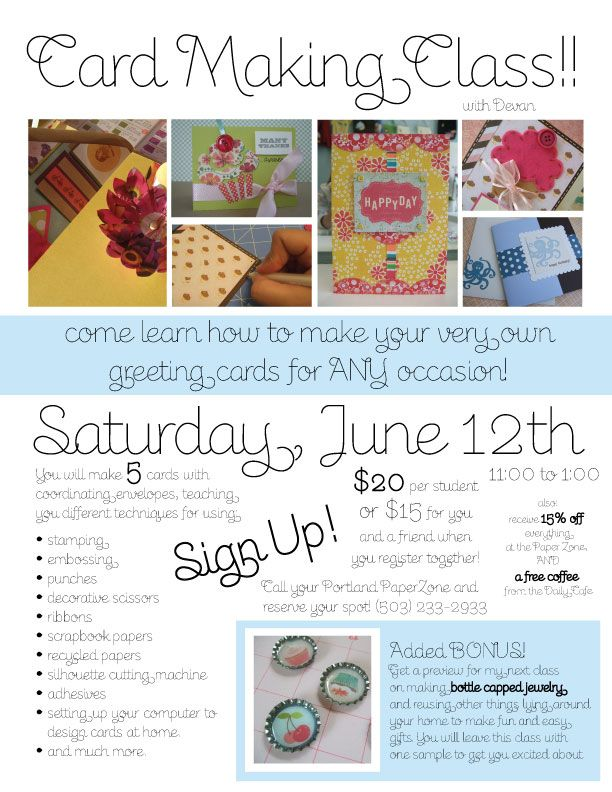 class card making class june 12th sign up invitations posters
