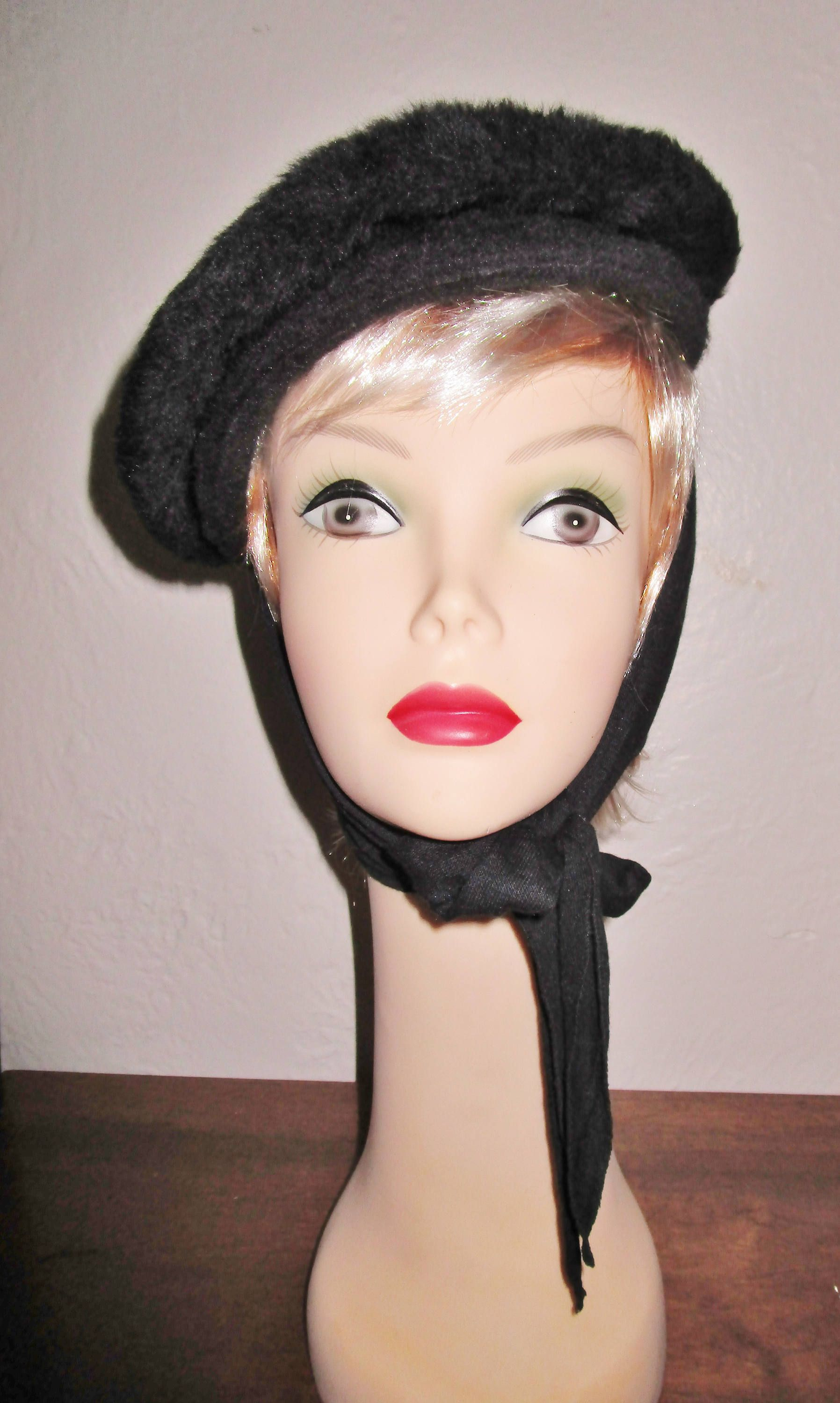 db943ef4a0856 Couture Vintage High Newsboy Or Beret Brimmed Black Faux Fur Hat Knit Scarf  Attached Winter Wear 1950 s Audrey Hepburn Style Art Deco Retro by  BagsnBling on ...