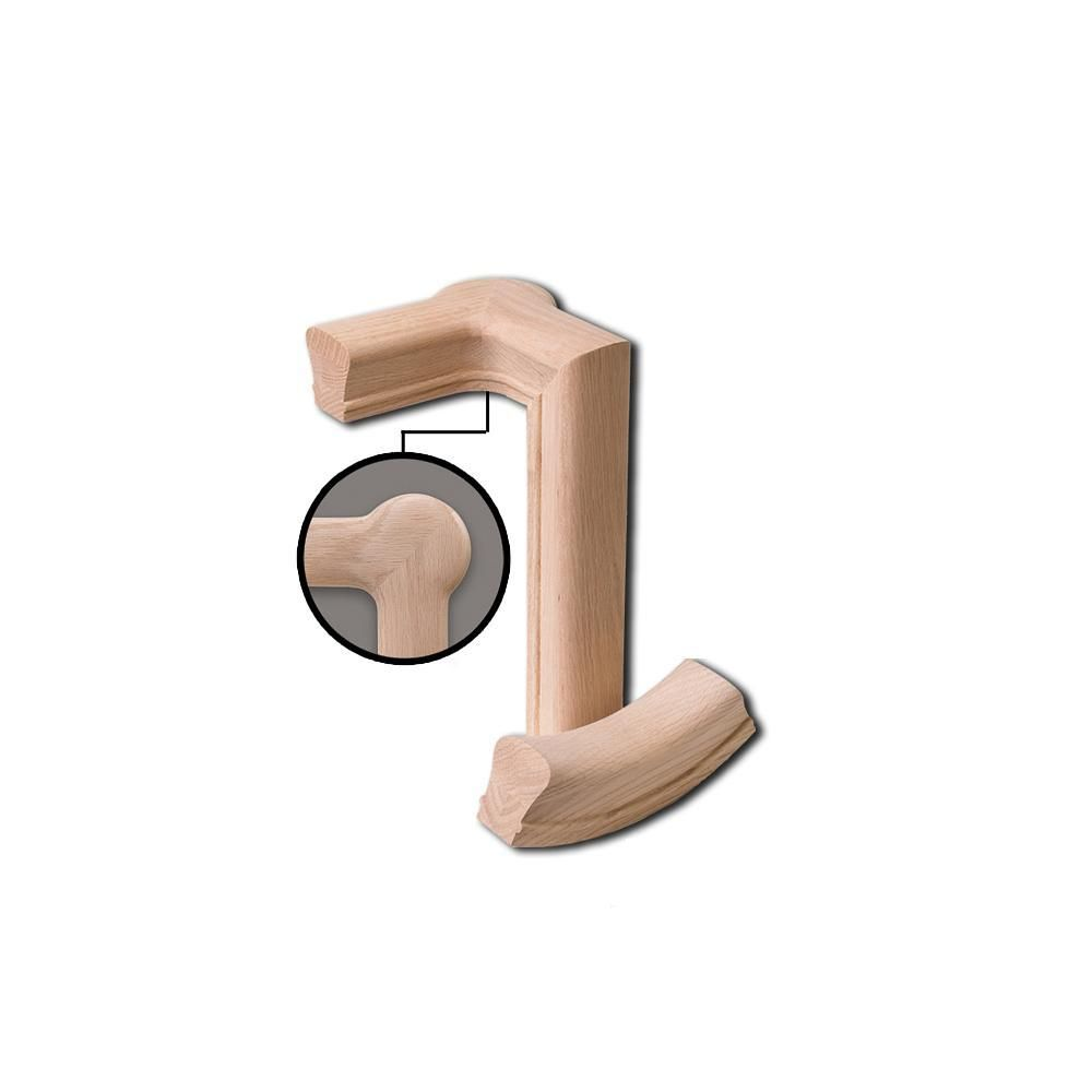 Best 7081 2 Rise Left Hand Gooseneck With Cap Wood Handrail Fitting In 2019 Wood Handrail Handrail 640 x 480