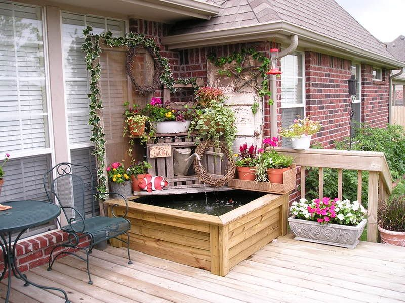 Fantastic Corner Deck Pond With Potted Garden And Good Height