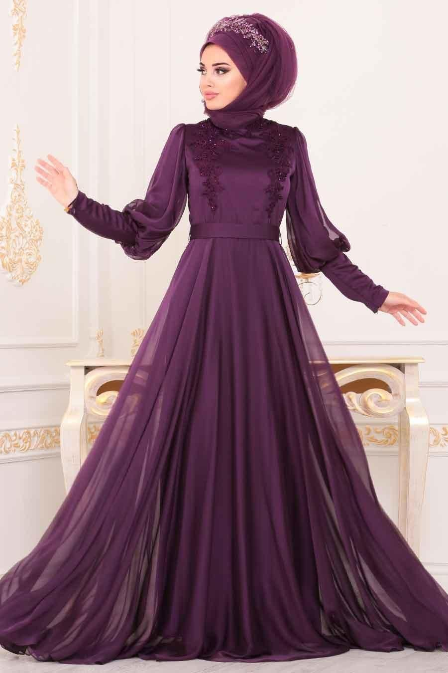 Tesetturlu Abiye Elbise Balon Kol Mor Tesettur Abiye Elbise 3927mor Tesettu Tesettur Abiye Modelleri 2020 2020 Elbise The Dress Balo Elbiseleri