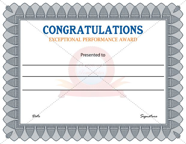 Exceptional Performance Award  Employee Award Certificate Templates