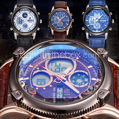 Herren Armbanduhr Quartz LCD / Chronograph / Wasserdicht / Duale Zeitzonen / Alarm Leder Band Schwarz / Blau / Braun Marke- 3311315 2016 – €17.48