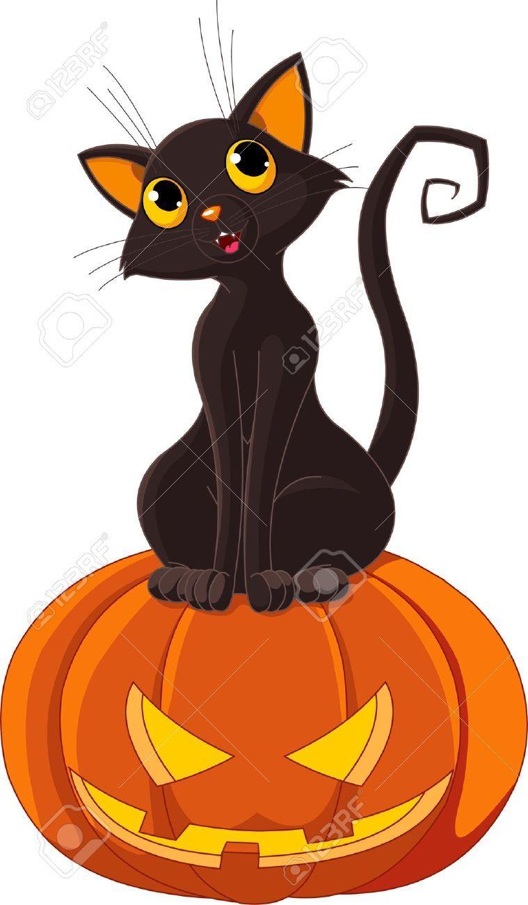 black cat sitting on halloween pumpkin royalty free cliparts rh pinterest com cute halloween cat clipart halloween cat clipart free