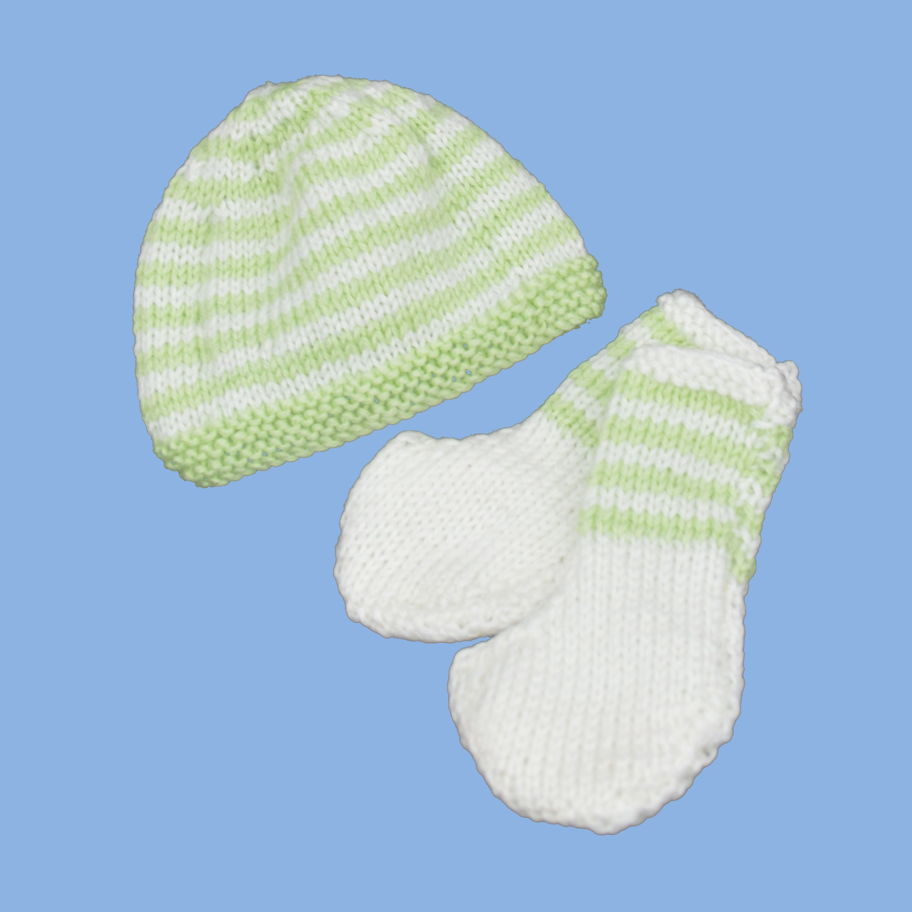 Hand knitted premmie hat/beanie and booties set.  Available in 3 sizes: up to .91kg, up to 1.36kg and 1.8-2.7kg    http://premmieto2.com.au/product/premature-baby-clothes-striped-beanie-booties-greenwhite/