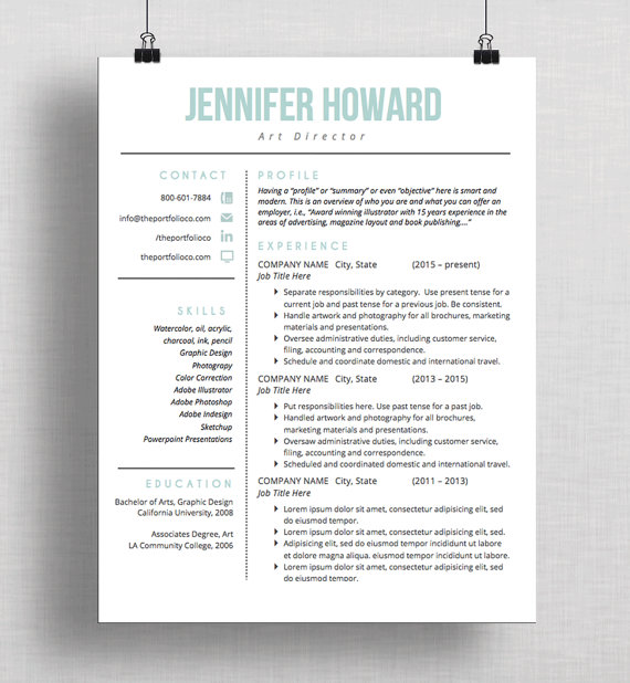 Modern Resume Template CV Template Cover Letter Creative Personal