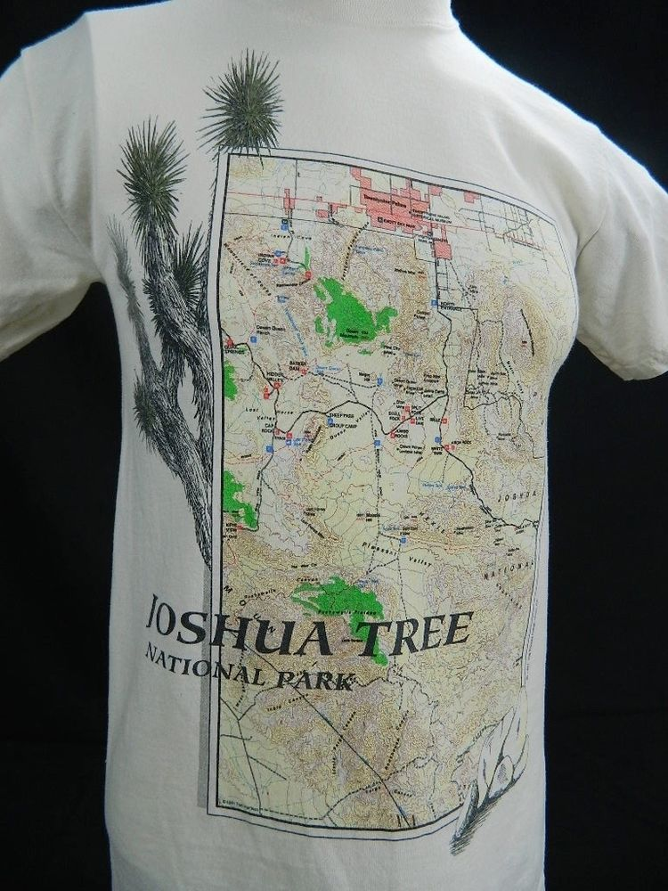 Vintage 90s MOUNTAINS DESERT JOSHUA TREE National Park Tourist Map T