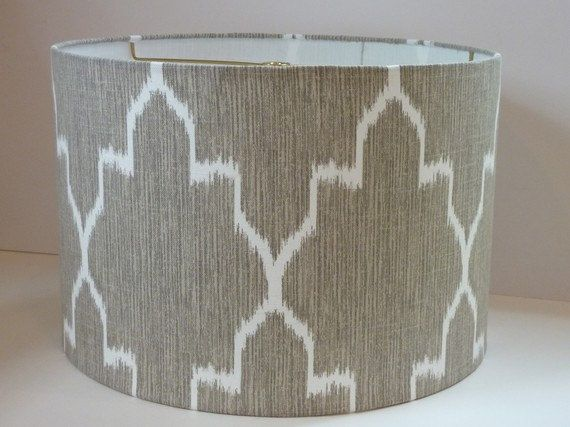 Drum Lampshade In Ikat Geometric Grey And White By Adesigninglife Lamp Shade Crafts Small Lamp Shades Drum Lampshade