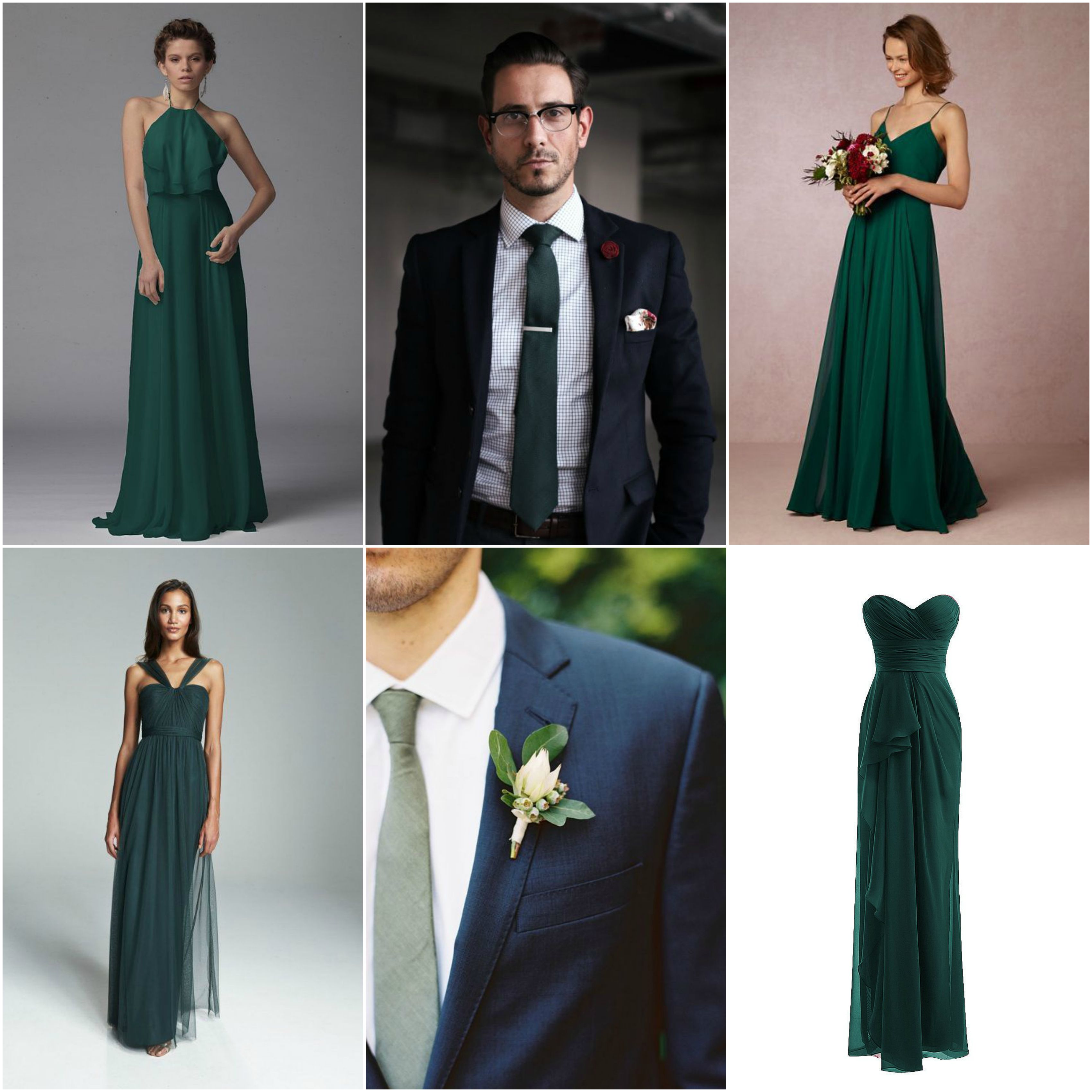 Collage for wedding navy dark blue suits forest green hunter green