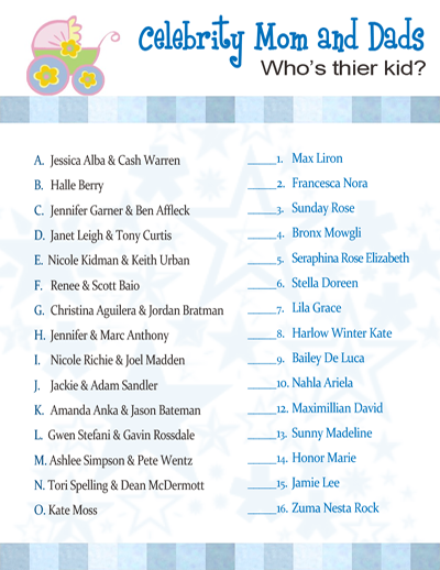 Celebrity Baby Name Game | Best Tasteful Baby Shower Games ...