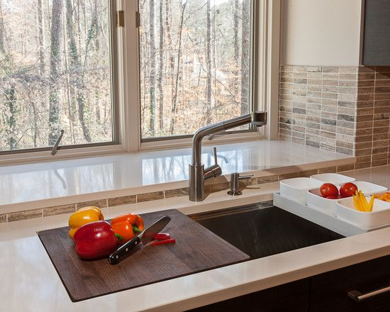 Kitchen Stunning Kitchen Sink With Cutting Board With Brown Tiles Classy Kitchen Sink Backsplash Design Ideas