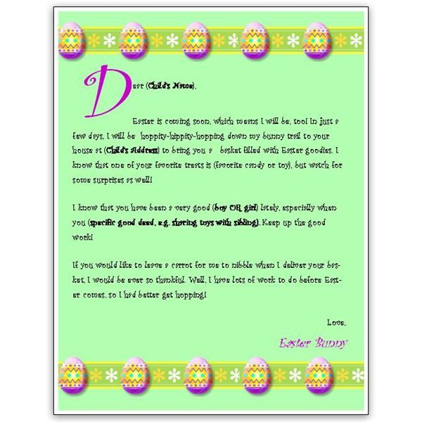 download a free easter bunny letter template for ms word or publisher