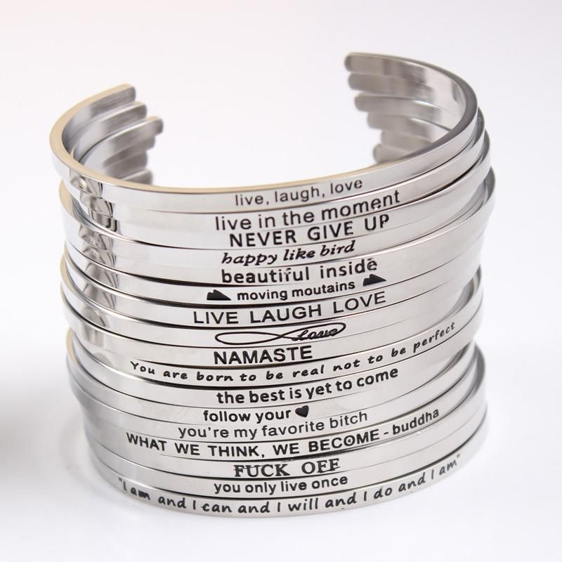 Engraved Silver Stainless Steel Letter Love Cuff Bangle Bracelet Family Jewelry
