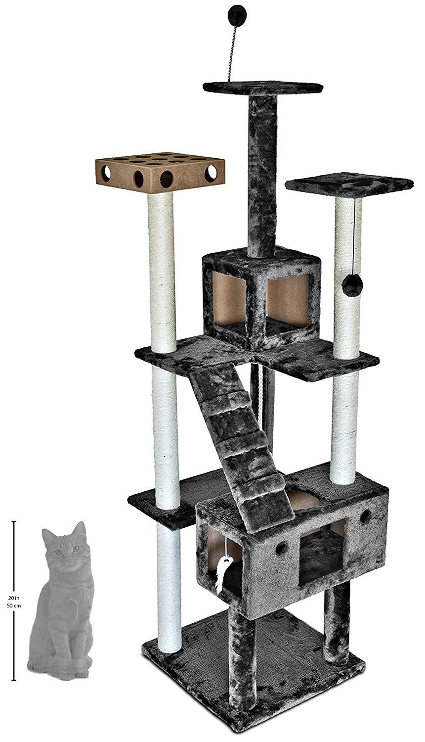 Tiger Tough Floor To Ceiling Cat Tree House Furniture For Kittens And Cats Multiple Color Style Cat Condos 45 To 127 Tal Cat Tree House Pet Tiger Cat Condo