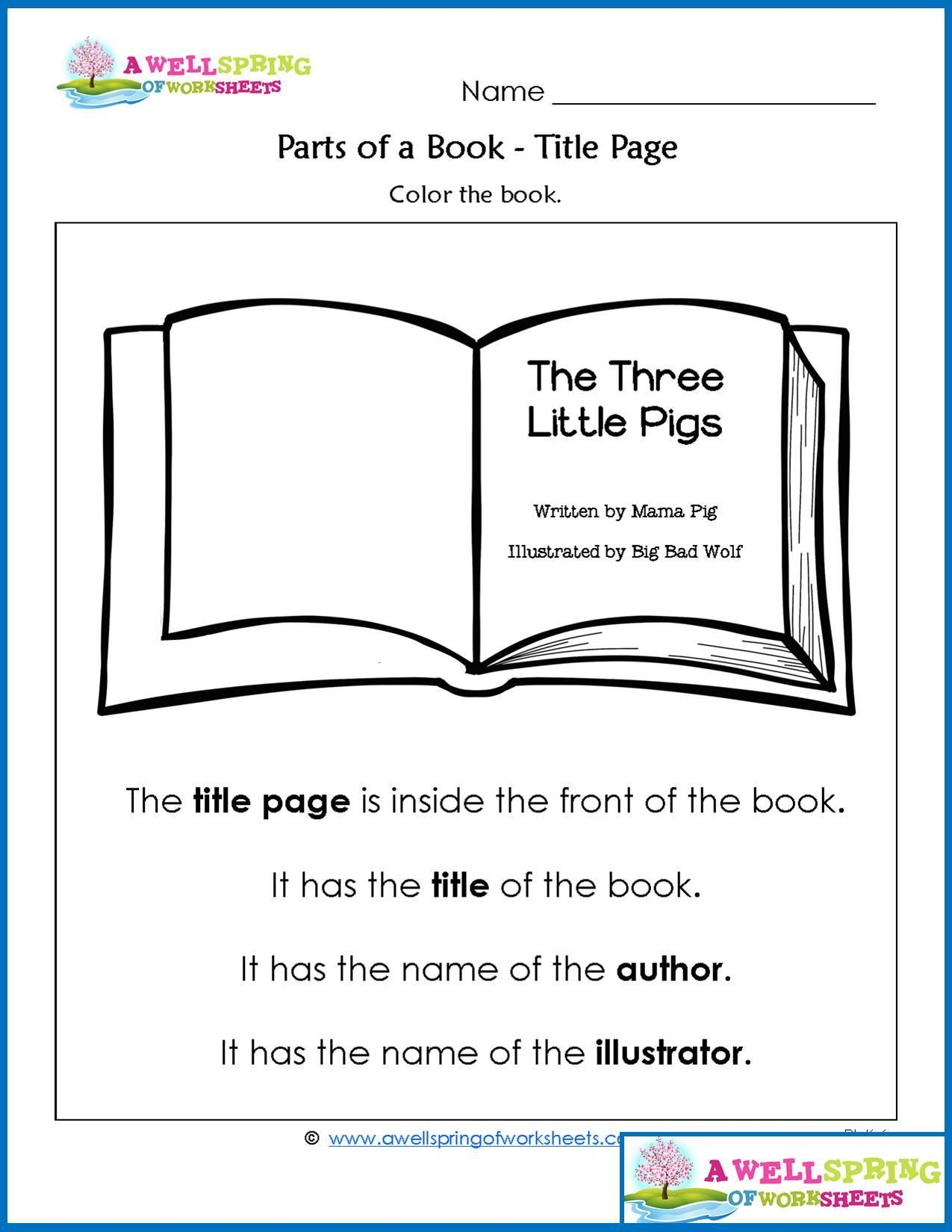 Parts Of A Book Worksheets Vocabulary Cards With Images