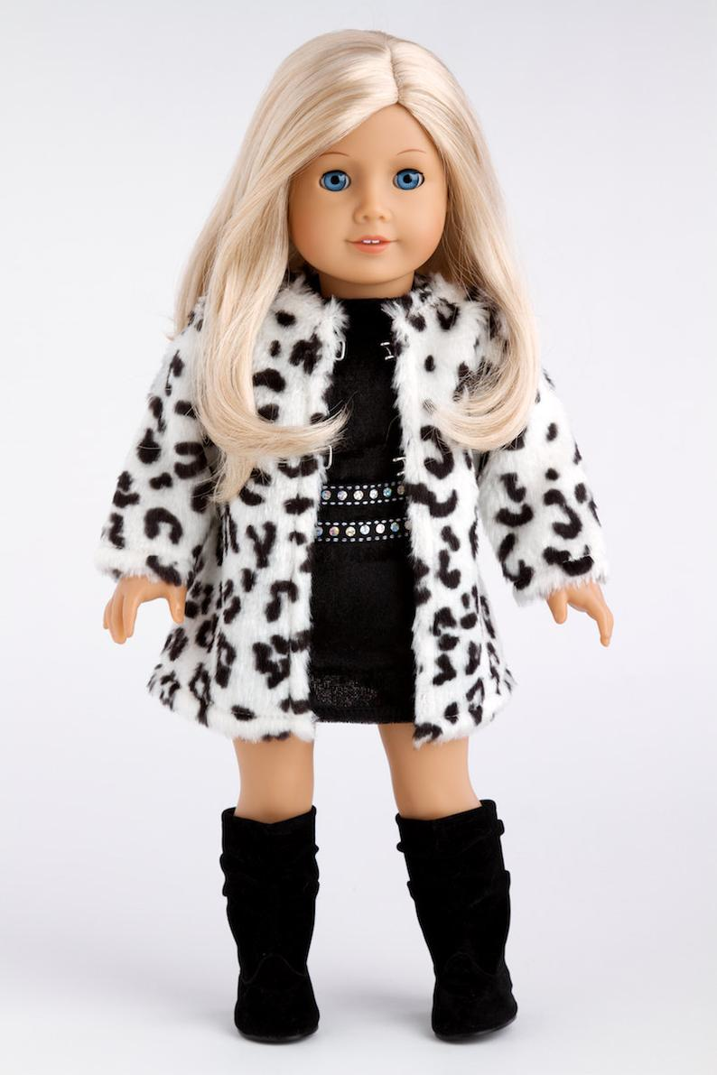 Glamour Girl - Doll Clothes for 18 inch Doll - Snow Leopard Faux Fur Coat with Black Velvet Dress and Boots