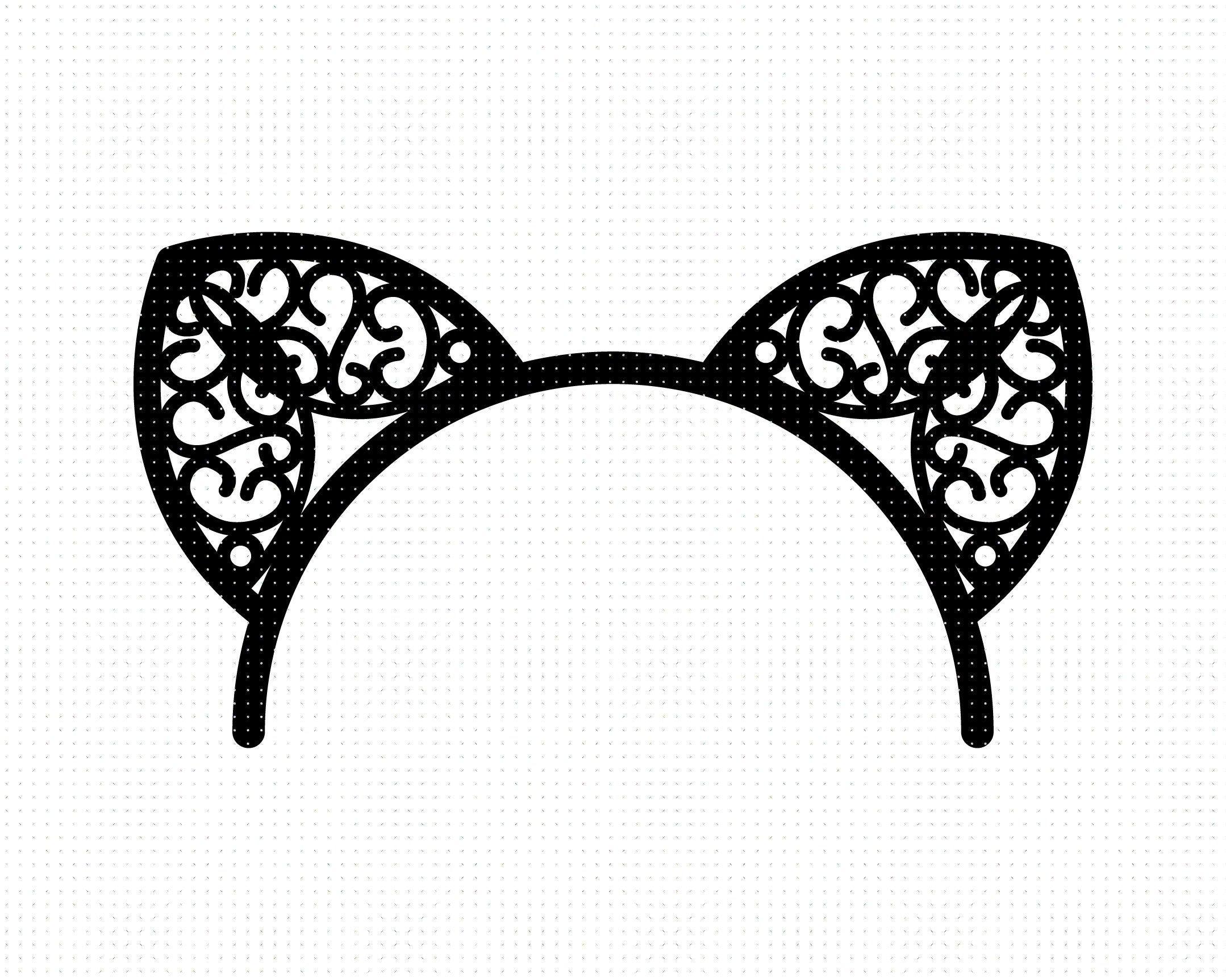 Cat Ears Headband Svg Cat Ears Svg Headband Svg Cat Ears Etsy Cat Ears Headband Ear Headbands Hand Silhouette