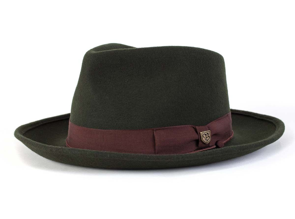 f77c07884fb64 Wide brimmed felt pork pie fedora with grosgrain band. Brixton Swindle  hats   men  fashion  accessories In stock. Price   74.00 Color   Size      Required ...