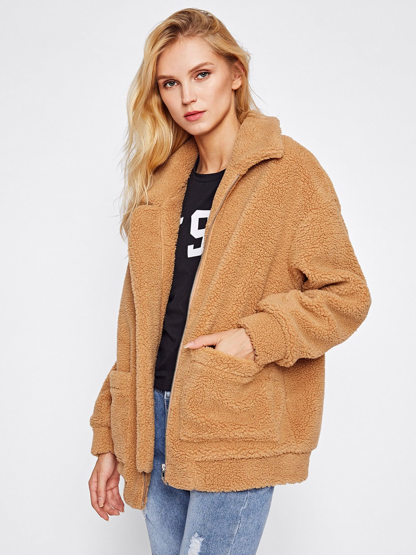 ef826cbe24 Shop Drop Shoulder Oversized Fleece Jacket online. SheIn offers Drop  Shoulder Oversized Fleece Jacket & more to fit your fashionable needs.