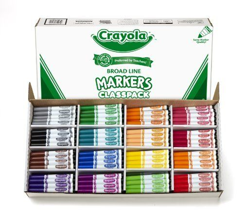 Crayola 256ct Classpack 16 colors Broad Line Markers by Crayola. $69.40. Durable plastic bins. Reusability. Portability easy to distribute. 256 markers for classroom use. Bright colors. From the Manufacturer                Great for busy classrooms, Crayola Classpack Assortments are an economical way to keep plenty of essential classroom supplies on hand. This kit contains a total of 256 Crayola Broad Line Markers that can be used for a range of classroom activ...