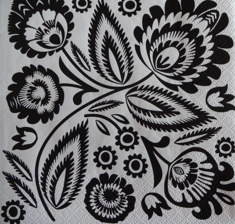 2 x Black And White Napkins, Napkins For Decoupage, Printed Paper Napkins, Folk Theme Napkins, Lunch Napkins, Collage Napkins, (BLACK FOLK) by GraceslacesPL on Etsy