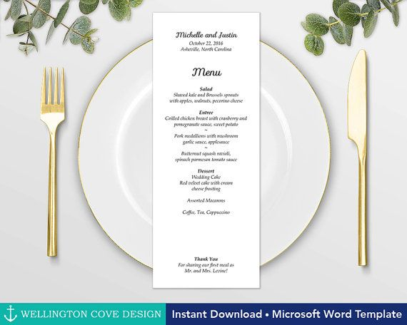 Easy Wedding Menu Template for Microsoft Word by Wellington Cove - ms word menu template