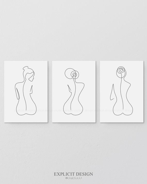 One Line Female Back Form Printable Set of 3, Minimalist Nude Ass, Woman Body Figure Wall Art Gallery, Naked Bottom Print, Butt Illustration