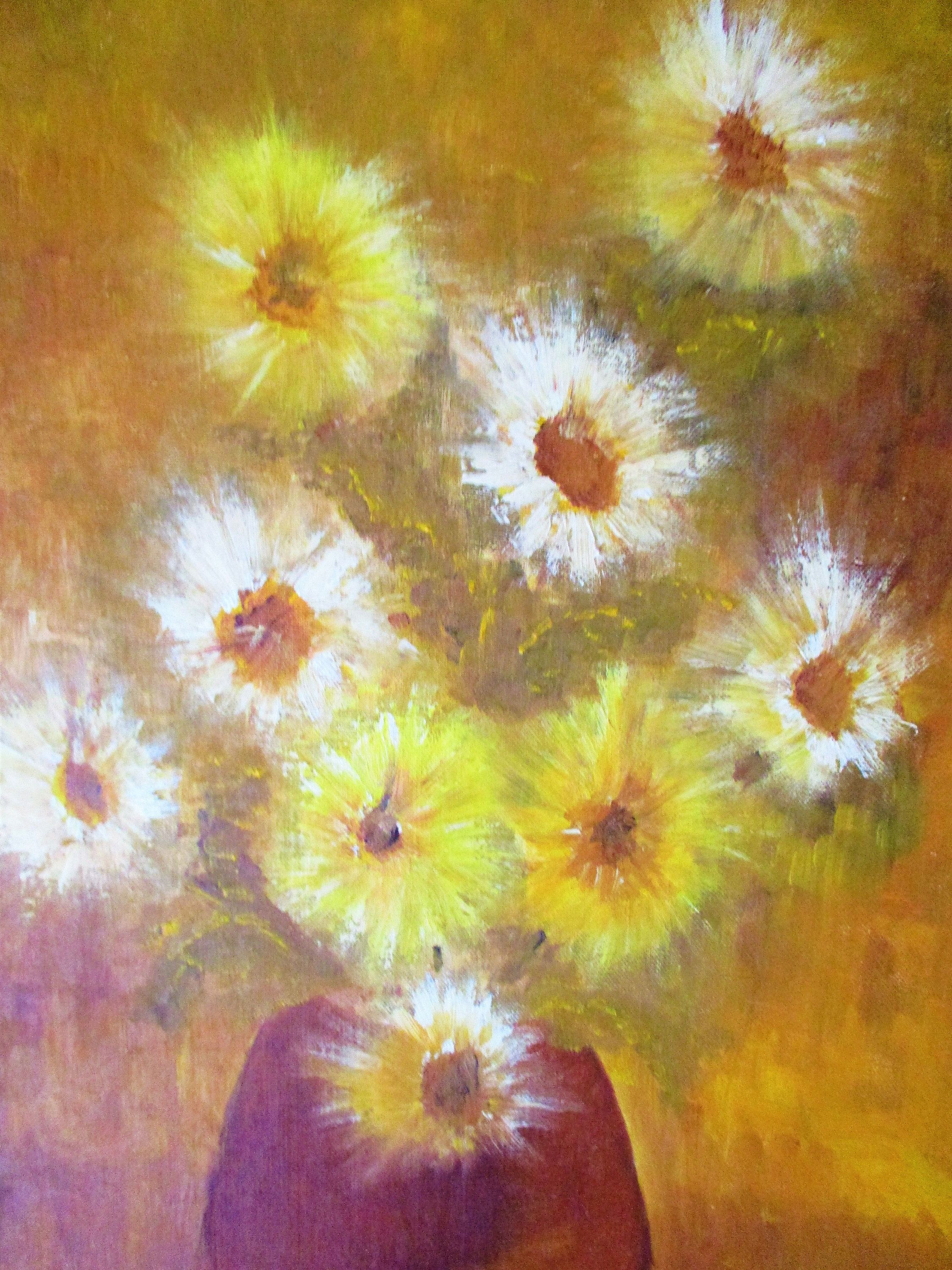 Original OIL PAINTING Yellow Gold Flowers in a Vase, Signed Framed ...