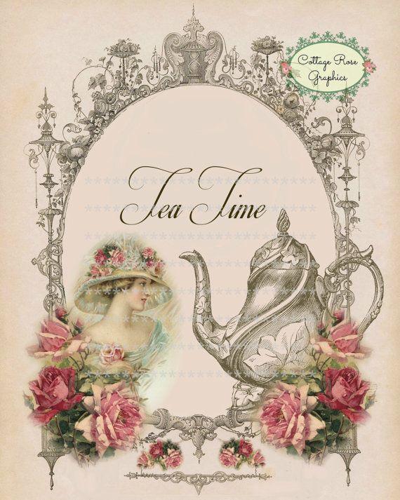 Victorian Tea Time Large digital download pink roses BUY 3 ...
