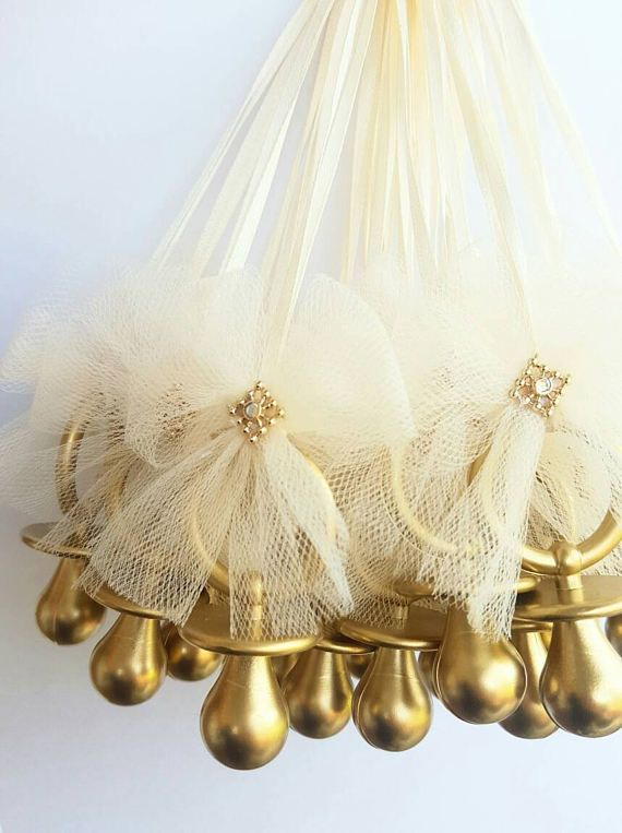 Neutral baby shower gender reveal Ivory and Gold royal