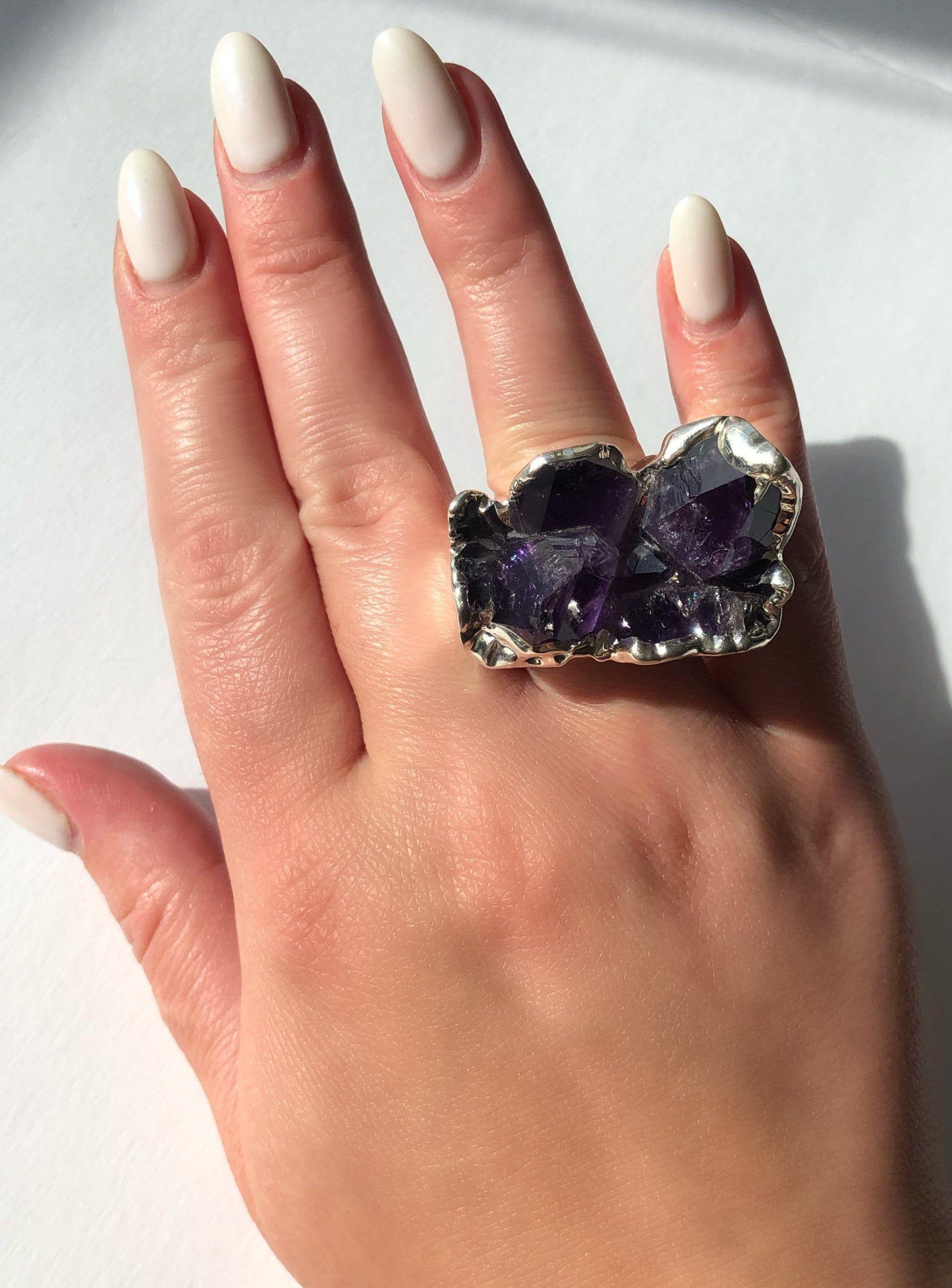 Raw Amethyst Silver Plated Ring