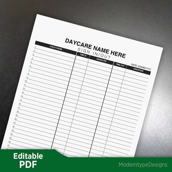 Daycareu0027s Sign In\/Out Form PDF - Editable Custom Template, Digital - sign in sheet