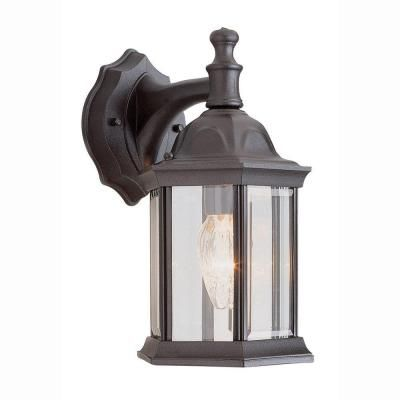 Bel Air Lighting Pentagon 1 Light Outdoor Black Coach Lantern With Clear Gl 4349
