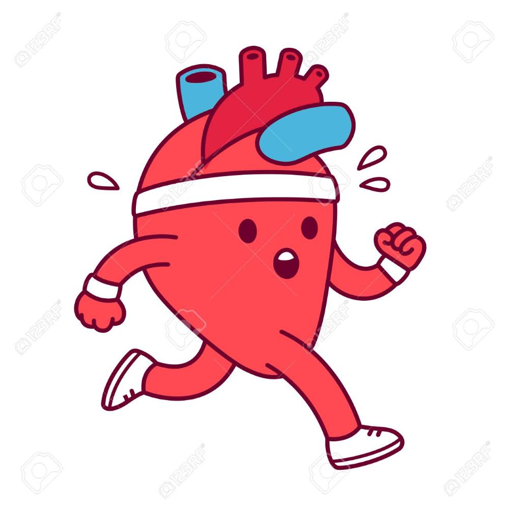 Cartoon Healthy Heart Exercising Vector Illustration Cute Heart Royalty Free Cliparts Vectors And Stoc Cartoon Heart Running Cartoon Running Illustration