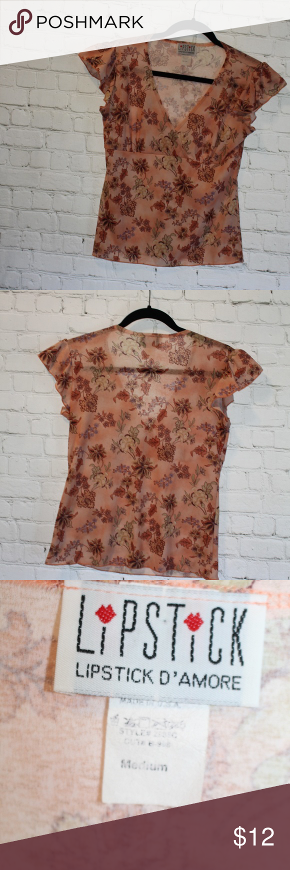 LIPSTICK BOUTIQUE V-Neck Top Size M Lipstick D'Amore Lipstick Boutique  Peachy color with rustic touches  Floral pattern V-neck Ruffled cap sleeves  Gently worn with no flaws Lipstick Boutique Tops Blouses
