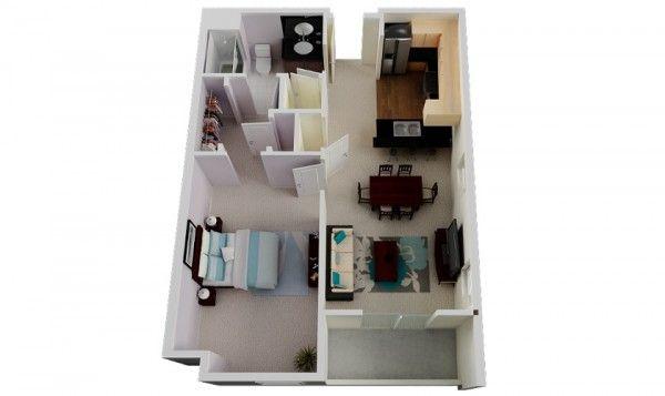 50 Plans en 3D d\u0027appartement avec 1 chambres Pinterest Tiny