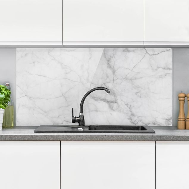 Spritzschutz Glas Bianco Carrara Weisser Marmor Kuchenruckwand Marmoroptik Querformat 2 1 Kuche Ruckwand Glas Spritzschutz Kuchen Ruckwand
