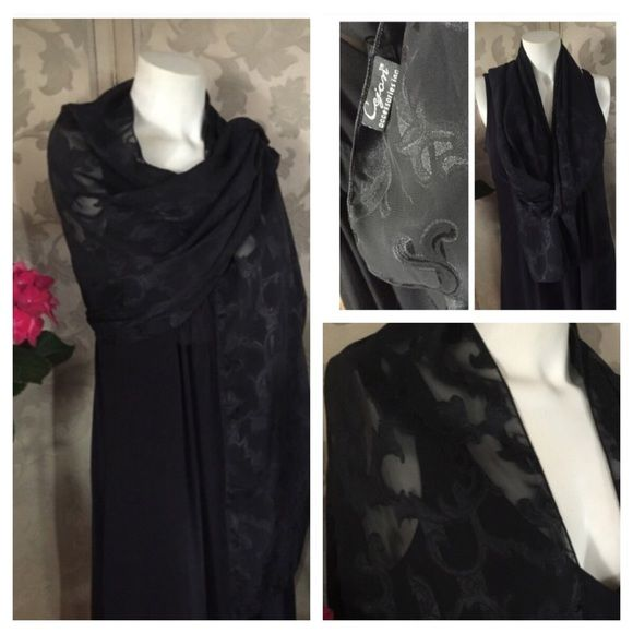 "BLACK Formal SCARF WRAP This lovely BLACK-ON BLACK EVENING SCARF WRAP Made by CEJAN ACCESSORIES INC. has a great fancy swirl pattern. Measures 71"" long x 20-1/2"" wide.  Great for that special evening or event. In great preowned condition with no issues. Smoke-free home. CEJAN  Accessories Scarves & Wraps"